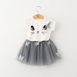 Saias de bolha do bebê on-line-Olá Kitty Gato Manga Curta Camisetas Com Applique TuTu Saia Conjuntos de Bebê Saias Bolha Conjuntos de Roupas Casuais Coreano