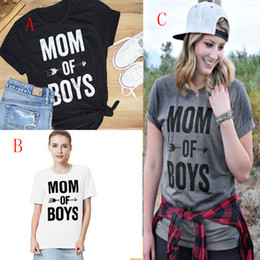 Wholesale Women Maternity - Women Maternity mom of boys letters printing T-shirt INS women short sleeve Tees 2018 new summer letter tops 3 colors C3619