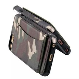Wholesale Camo Wallets - Armor Camo Flip Leather Back Cover Army Camouflage Stand Holster Bracket Wallet Case Kickstand Shell for iPhone X 6 7 8 Plus