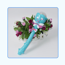Wholesale New Electric Toys - Large Size Babysbreath Revolving Magic Wand Electric Projection Music Flash Of Light Sticks Children Toys Direct Deal 4 1rb W