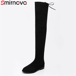 flock band Coupons - Smirnova 2018 new arrival fashion over the knee boots round toe square low heels boots narrow band solid flock female