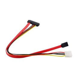 Wholesale Ide Data Cables - Wholesale- 1pcs New 40cm 15+7 Pin Power Data to 4 Pin IDE Power SATA Data Hard Cable Hot Worldwide Drop Shipping