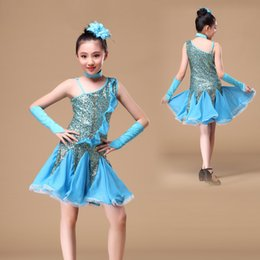 Wholesale Latin Dance Outfits - igh Quality dress outfits for women 2016 Children Dance Outfit with Sleeves Sequins Latin Dresses for Girls Backless Fringe Latin Dance D...
