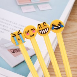Wholesale Gel Learning - 4 pcs Kawaii Emoji Children Gel Pen Kids Smiling Face Student Stationery Office Learning Black Ink Pen Writing Supplies