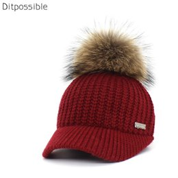 Casquette d'hiver tricotée pour femmes de marque Ditp possible, casquettes de baseball tricotées, chapeau de pompon en fourrure véritable ? partir de fabricateur