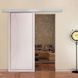 Porta portas de armário deslizante on-line-Hardware deslizante moderno da porta de celeiro da liga de alumínio de 6,6ft do hardware da porta de celeiro para portas interiores do armário