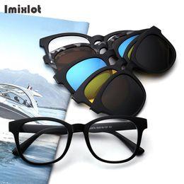 5 Peças Clipe Em Óculos De Sol Polarizada Magnética Óculos De Sol  Espetáculo Quadro Homens Mulheres Lente de Visão Noturna Óculos de Miopia  de Condução bf8dbdd7ae