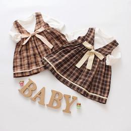 Wholesale plaid chiffon dress - Autumn Korean Plaid Skirt Europe and America Dress 2 Piece Set Female Baby Cotton T-Shirt Dress Set
