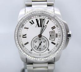 Lüks Yüksek Kalite Kalibreli De 42mm Beyaz Mens Otomatik Makine İzle W7100015 Paslanmaz Çelik Elmas Çerçeve erkek Bilek Saatler cheap automatic high quality calibre watches nereden otomatik kalitede saatlik saatler tedarikçiler