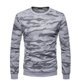 Camiseta deportiva camo online-Mens Designer T Shirts Sport Plus Size Camo Slim Fit Top Manga larga O cuello Otoño Moda Ropa casual