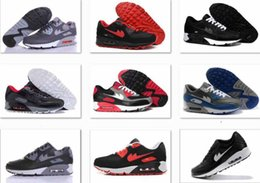 Wholesale Navy Surface - Mens Sneakers Shoes classic 90 Men Running Shoes Black Red White Sports Trainer Air Cushion Surface Breathable Sports Shoes 40-46