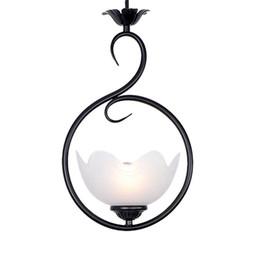 Fiori di ferro rustico online-Lampada a sospensione a sospensione in metallo nero anticato Lampada da soffitto a sospensione in metallo anticato