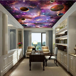 adesivos de parede de tv Desconto Galaxy 3d teto grande mural papel de parede sala de estar quarto teto papel de parede pintura tv backdrop parede adesivo decoração de casa