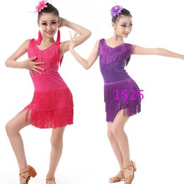 Wholesale Belly Dance Costumes Children - Children Professional latin Dancing Clothes Girls Latin Ballroom Dancing Dress Kids Salsa Tassels Stage Dancewear Costumes Dress