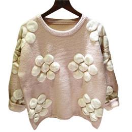 Корейский большой вязаный свитер онлайн-Корейский свитер женщин Новый Осень Зима толстые свободные перемычки хеджирование большой цветок вязаный шерстяное пальто женский пуловер Vestidos LXJ153