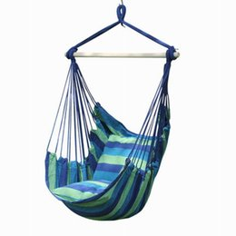 Wholesale wood space - Hanging Chair Cotton Fabric Outdoor Yard Indoor Tree Hammock Chair Splicing Color Rope Hanging Rope Chair