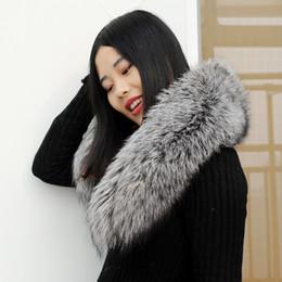 abrigo de zorro Rebajas CX-A-76Q Cuello de piel real 100% genuino Bufanda de piel de zorro plateado Recorte de la capa de abajo / Parka Strip Strip / Hooded