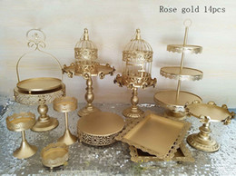 Wholesale tools decorate wedding cake - gold wedding cake stand set 14 pieces cupcake stand barware decorating cooking cake tools bakeware set party dinnerware