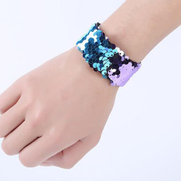 soportes a granel Rebajas Wholesale Girl Slap Bracelets Mermaid Sequin Wristband Double Colors Glitter Slap Bracelet Kids Party favors 21 Designs