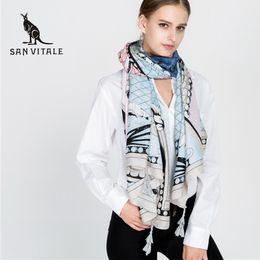 Wholesale Womens Wool Scarves - Wholesale- SAN VITALE Womens Scarves Shawls Winter Warm Scarf Luxury Brand Soft Fashion Wraps Wool Cashmere Silk Hijab Bandana for Gifts