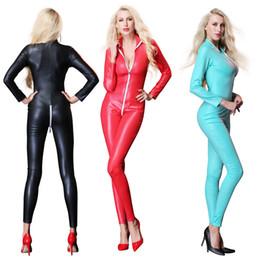 Sexy mono para mujer de vinilo CatsuitLatex de cuero de imitación Body Zipper entrepierna abierta PU Leotardo rojo negro azul desde fabricantes