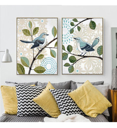 Wholesale Country Paint - 2018 retro country style wall paintings butterfly inseparable king bird Posters Canvas Art Print Painting Wall Pictures For home decoration