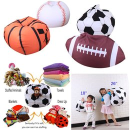 Wholesale football bedding - Kids Stuffed Animal Storage Bean Bag 26inch Football Basketball Baseball Organizer Box Organization Sack Chair Portable Clothes Storage