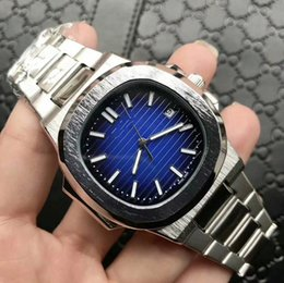 Wholesale Mens Automatic Diving Watches - Brand New Mens Automatic Mechanic Calendar 40mm Watch Men Dive Full Steel Nautilus Auto Date Classic 5711 Watches Transparent Back Wristwat