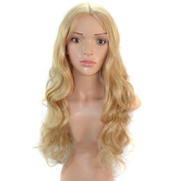 Оптовые дешевые синтетические женские волосы Парики Золотой цвет Длинные волнистые афроамериканские женщины жаропрочные волокна парики для европейских женщин от