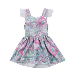 Wholesale fasion clothes - Pretty Newborn Baby Girls Backless Bowknot Lace Dresses Sundress Baby Girl Fasion Floral Dress Clothing