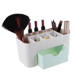 Organizadores de cajones de bricolaje online-Creative Desktop 6 Grid Desktop Storage Box PP DIY Maquillaje Organizador Cosméticos Estuche de escritorio con cajón 22x10.5x10.5cm