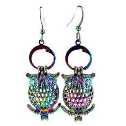 Z17 Rainbow Color Carino Bijou Owl Orecchini con gabbia di perle con perline in plastica da 7mm Regalo della ragazza da perline di plastica 7mm fornitori