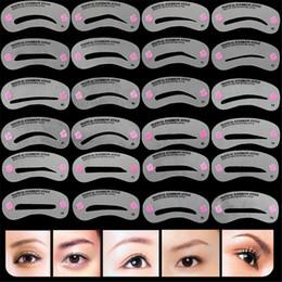 Disegno trucco sopracciglia online-24 Styles Sopracciglio MakeUp Stencil Set carta sopracciglio Eye Brow Guida al disegno fai da te Styling Shaping Grooming Reusable Template Card