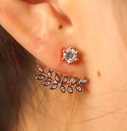 0285bae73 copper ear cuff pierced 2019 - 2018 New Zircon Crystal Ear Cuff Clip Leaf  Stud Earrings