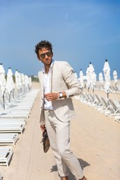 Último abrigo Pantalón Slim Fit Trajes de hombre Playa Boda Esmoquin Groomsman Verano Trajes para hombre Blazer por encargo Terno masculino traje Homme desde fabricantes