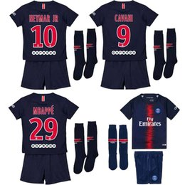 Wholesale paris kids - 2018 kids kit Maillot de MBAPPE NEYMAR JR soccer jerseys 2019 CAVANI DANI ALVES paris saint germain 18 19 football shirt child camisetas