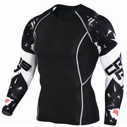 Wholesale Wolves Jersey - Mens Compression Shirts 3d Teen Wolf Jerseys Long Sleeve T Shirt Fitness Men Lycra Mma Crossfit T -Shirts Tights Brand Clothing