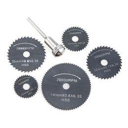 Wholesale dremel rotary drill - 6pcs HSS Circular Saw Blades Rotary Cutting Tools Set multi tool for Power Tool Wood Cutting Discs dremel Drill Mandrel Cutoff