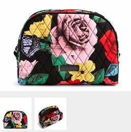 Wholesale Yellow Flower Purse - NWT Cotton Flower Large Zip Cosmetic Bag Travel Bag Storage Pouch Purse