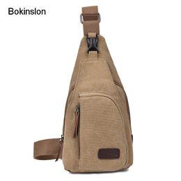 e7acb9d52017 Bokinslon Men Small Bags Canvas Multifunction Man Crossbody Bag Solid Color  Casual Male Shoulder Bags