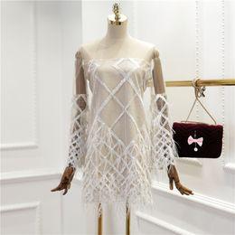 Вечернее платье сексуальное платье онлайн- 2018 Runway Spring Women Sexy Mesh Patchwork Tassel Feather Bead Design Party Dress Female Dresses Birthday Gift A035
