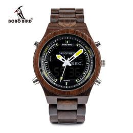 orologio digitale di visione notturna Sconti BOBO BIRD V-P02 Orologi Uomo Alta qualità Legno Digital Night Vision Orologio da polso maschile con cronometro da esposizione settimanale