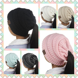 Wholesale Kids Crochet Beanies - 6 Colors Kids CC Ponytail Hats Knitted CC Trendy Beanie Winter Oversized Chunky Skull Caps Knitted Slouchy Crochet Hat CCA8789 50pcs