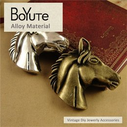 Wholesale Metal Horse Head - BoYuTe (10 Pieces Lot) 51*51MM 2 Colors Vintage Zinc Alloy Steed Head Horse Pendant Metal Charms for Jewelry Making Diy Necklace Accessories