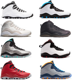 Wholesale leather powder - New 10 mens basketball shoes Steel Grey white black 10S trainers Powder Blue Lady Liberty Chicago GS X Fusion Red Bobcats Sneakers Shoes
