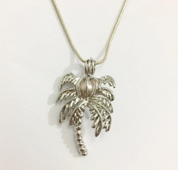 Wholesale Diy Coconut Tree - 18KGP Coconut Palm Tree Locket Cages, Pearl Gem Bead Cage Pendant Mountings, DIY Fashion Jewelry Making P76