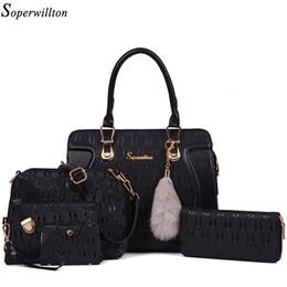 Wholesale Real Fur Pieces - Soperwillton Brand Bags Women Real Raccoon Fur Accessory Shoulder Handbag Composite Bag 5 Pieces Set Bags Female Wallets #1136