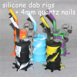 cucharear las uñas Rebajas Mini Silicona Bubbler Rig tubo de silicona para fumar Hand Spoon Pipe Hookah Bongs aceite de silicona dab rigs + 4mm 14mm uñas de cuarzo macho