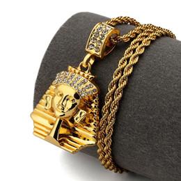 Wholesale egypt crystal - 2018 Pharaoh King Men Gold Pendants Rhinstone Egypt Charm Necklace Hip Hop Fashion Jewelry For Men Women
