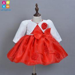 2019 vestidos geométricos del boutique 2018 Nuevo vestido de niña con sombrero de niña 1er cumpleaños trajes recién nacidos vestidos de bautizo Princesa infantil vestido de bautismo